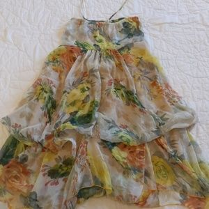 Dresses & Skirts - Floral print Chiffon Strapless Dress